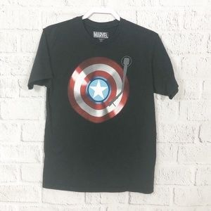 Black Mens Marvel Captain America Tee